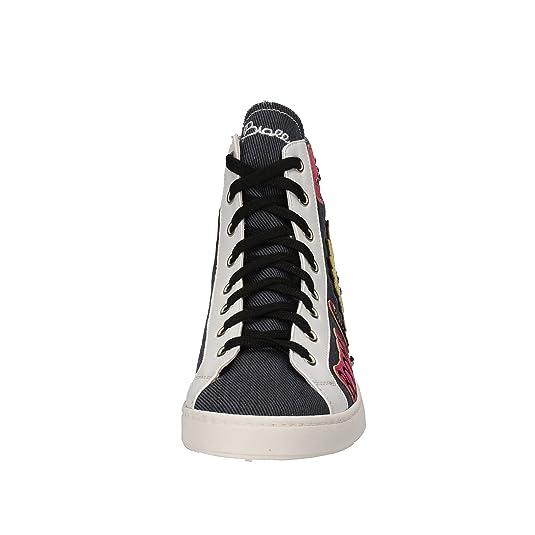Sneakers Damen 37 EU Blau Weiß Textil Leder AE551 Braccialini vf5MT8