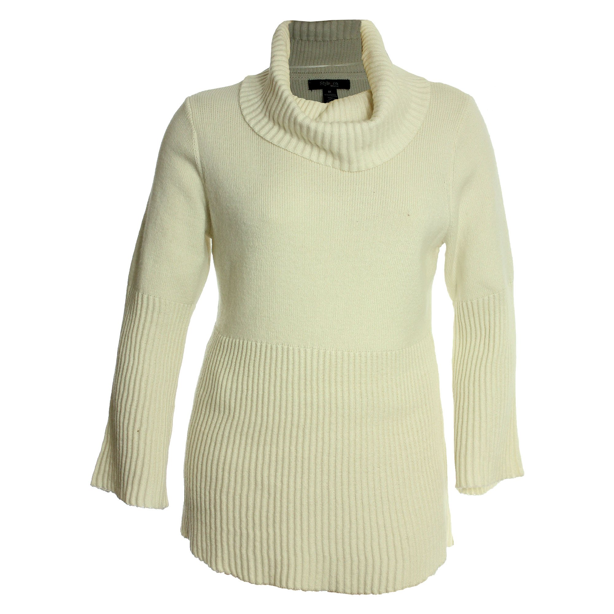 Style & Co. Womens Plus Cowl Neck Bell Sleeves Pullover Sweater Ivory 2X