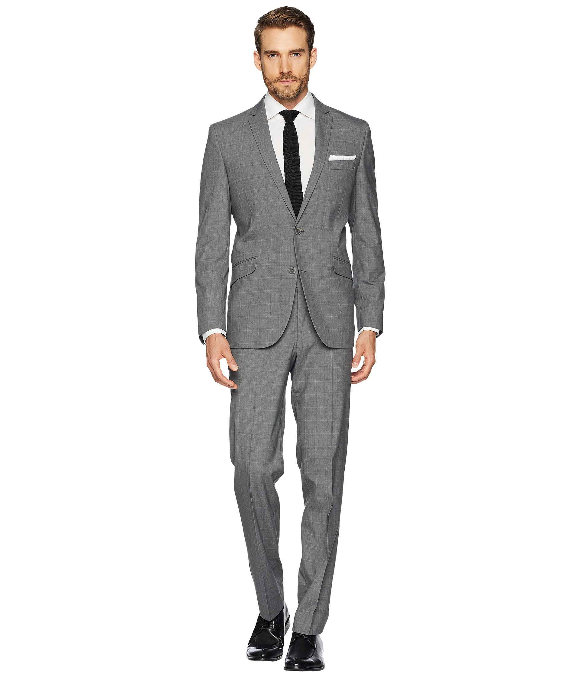 Kenneth Cole REACTION Men's 32'' Finished Bottom Suit, Gray Plaid, 46R