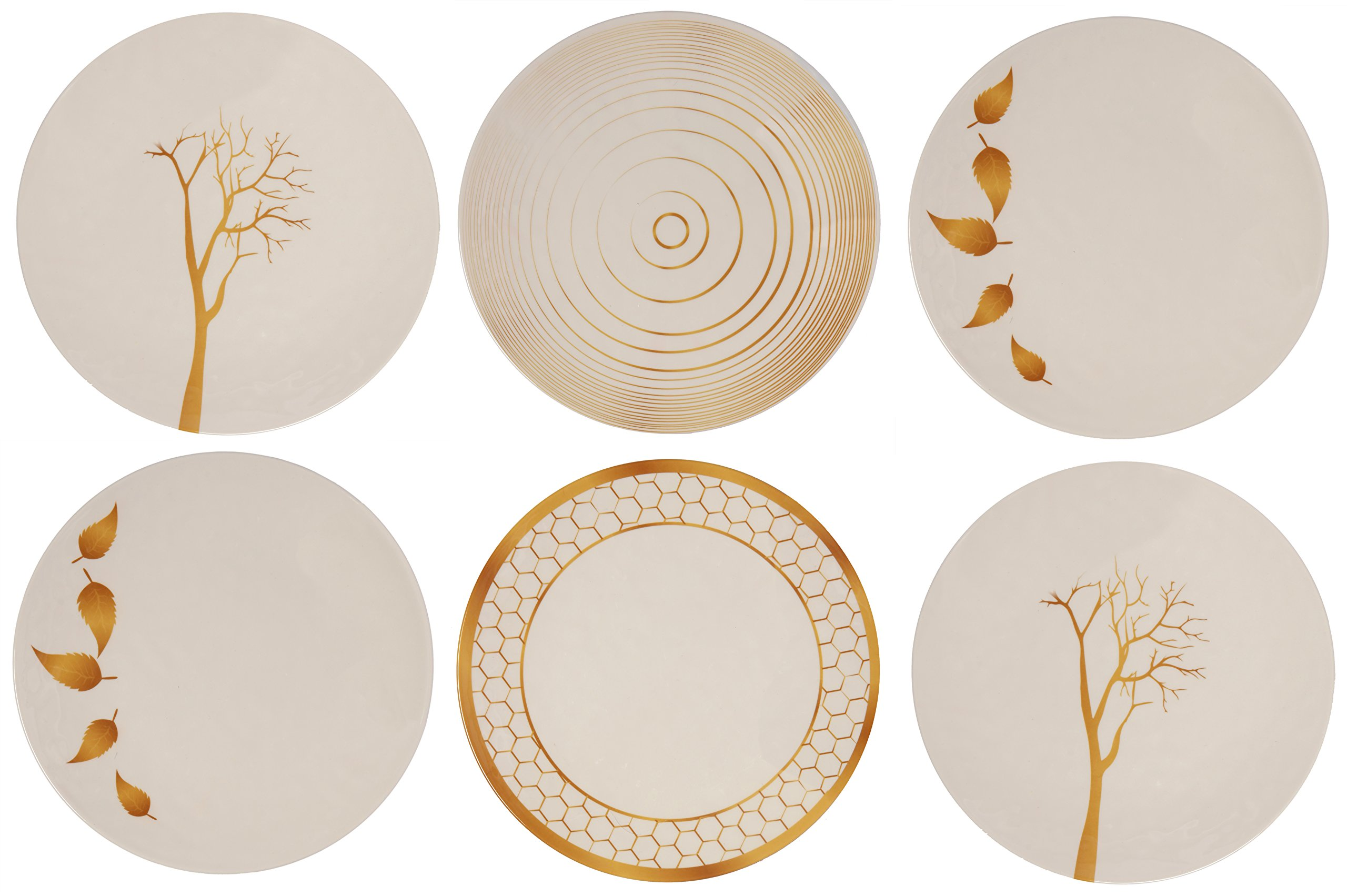 Melange 6-Piece 100% Melamine Dinner Plate Set (Gold Nature Collection )   Shatter-Proof and Chip-Resistant Melamine Dinner Plates