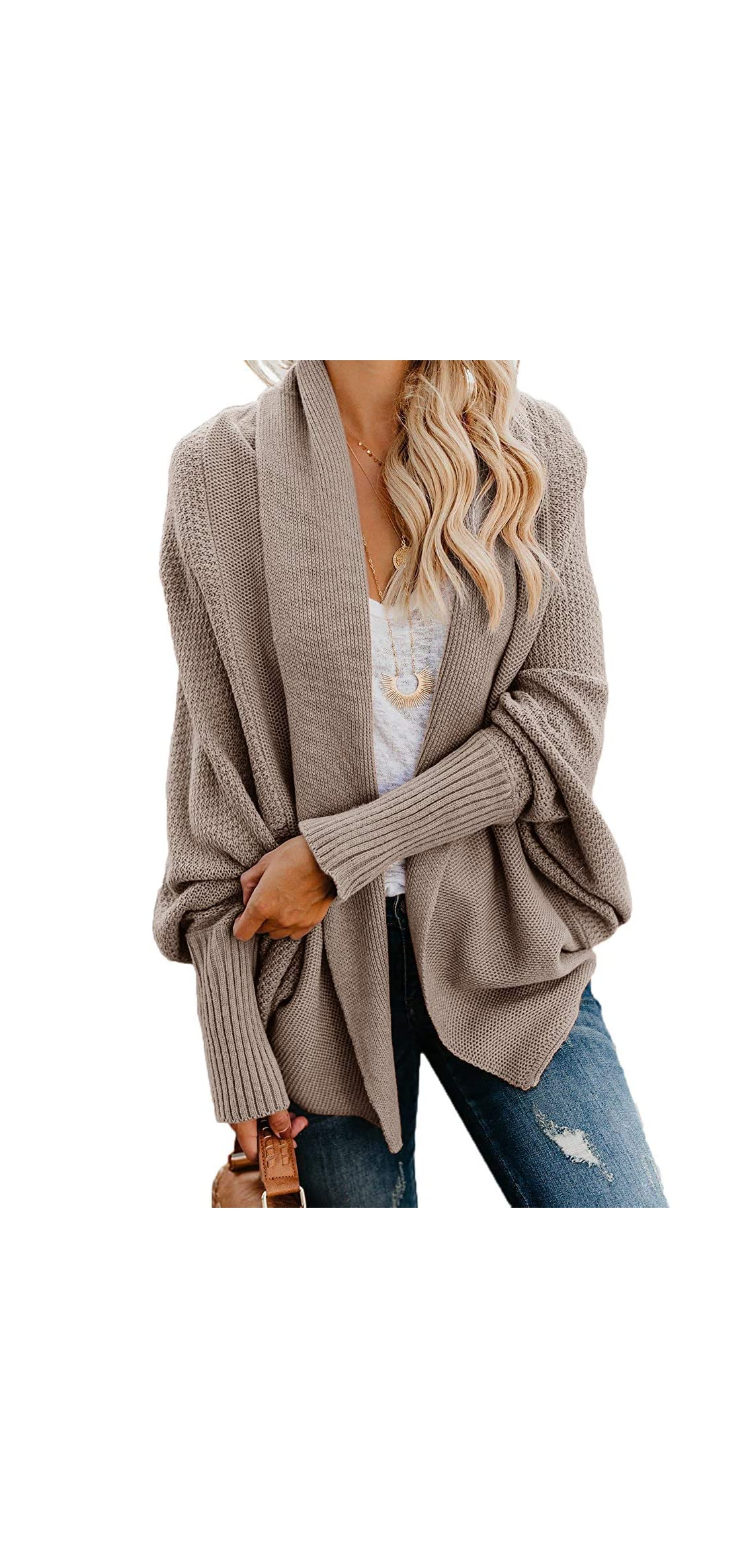 Womens Open Front Batwing Long Sleeve Chunky Cardigan