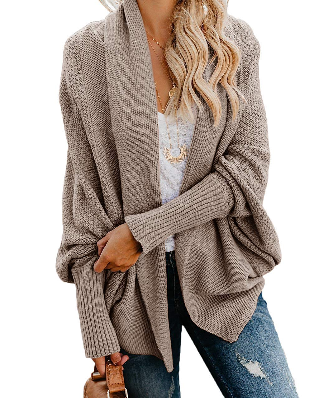 FIRENGOLI Saralove Womens Kimono Open Front Cardigan Sweaters Batwing Sleeve Shawl Collared Oversized Sweater Cloak Outwear (Khaki,Medium)