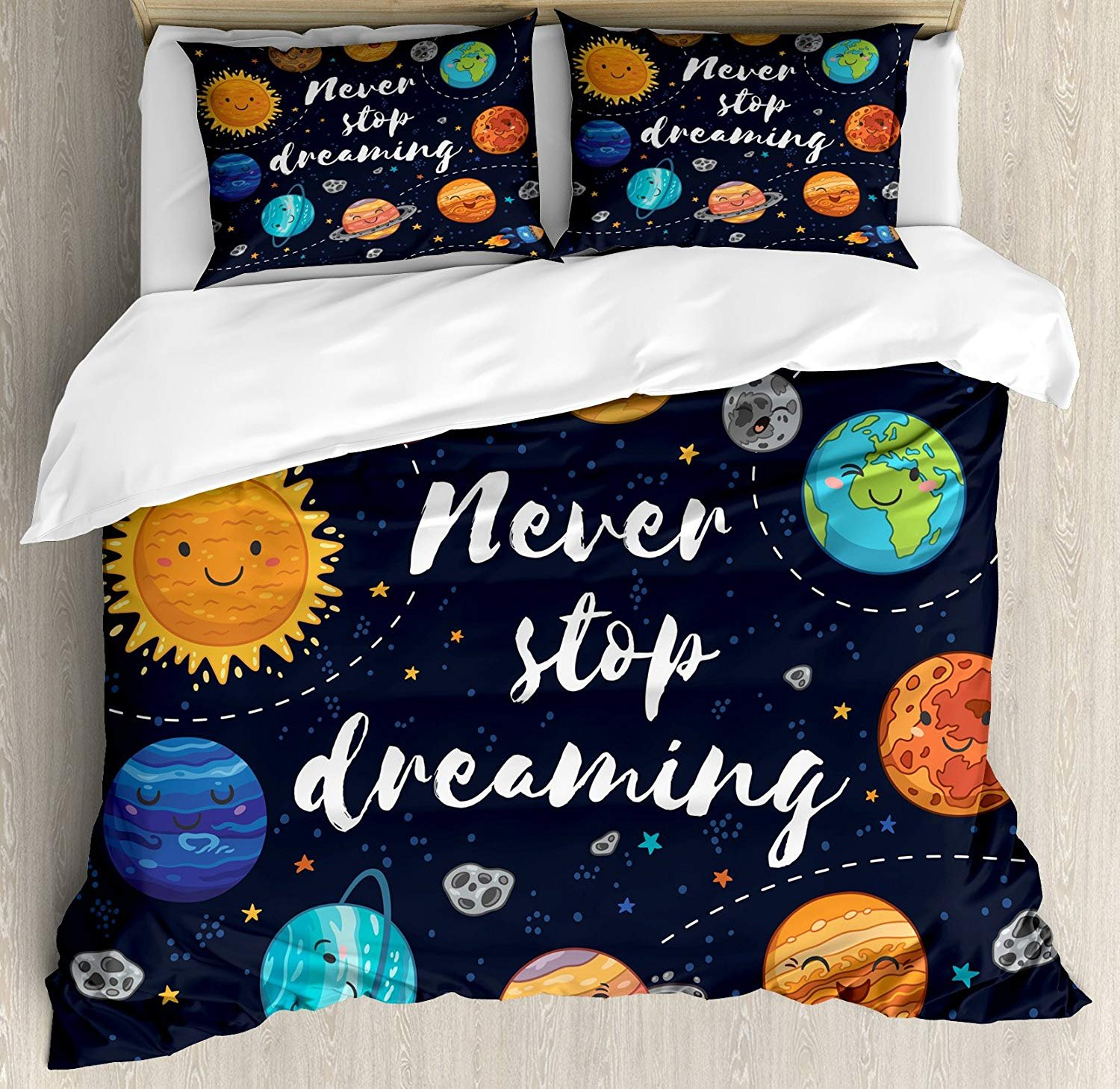 Anzona Twin Size Quote 3 PCS Duvet Cover Set, Outer Space Planets Star Cluster Solar System Moon Comets Sun Cosmos Illustration, Bedding Set Bedspread Children/Teens/Adults/Kids, Multi
