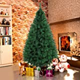 Dporticus 7 Foot Eco-Friendly Artificial Christmas Pine Tree with Solid Metal Legs 1000 Tips Full Tree (Green)