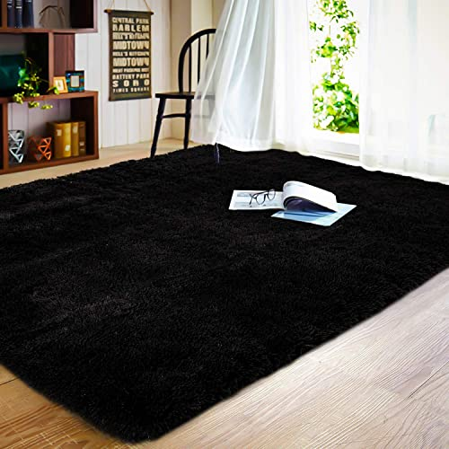 JOYFEEL Soft Fluffy Area Rugs Living Room Carpets for Nursery Decor Kids Room 5×8 Feet, Black