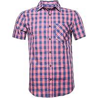 Deborri Men Plaid Cotton Casual Short Sleeve Button Down Dress Shirts