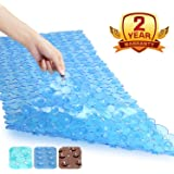Non Slip Bath Mat Becozier Mildew Resistant Pebbles Shower Mat with Anti Slip Suction Cups, Antibacterial Machine Washable Bathtub Mat,16X35 Inch, Blue