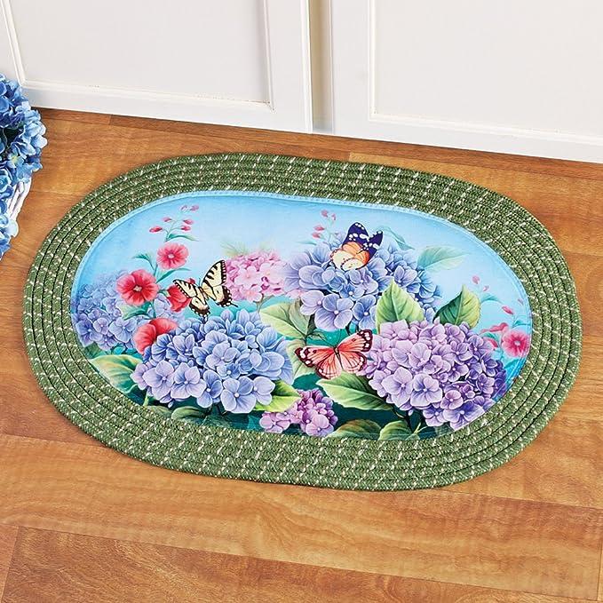 Amazon.com: Hortensia jardín Oval trenzado alfombra de ...