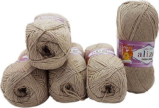 5 ovillos de lana de 100 g, 55% algodón, 500 g, color beige (152): Amazon.es: Hogar