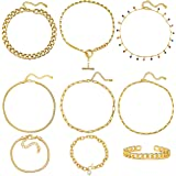 17 MILE Gold Chain Necklace and Bracelet Sets for Women Girls Dainty Link Paperclip Choker Jewelry