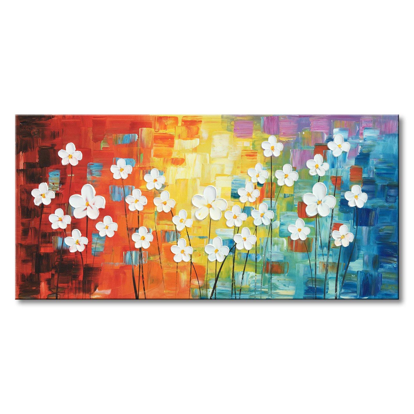 Konda Art -Framed Modern 100% Hand-painted Flower Art Wall Decor Canvas Oil Painting Textured White Color Petal Decor Gift (60''W x 30''H)