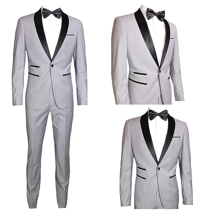Moda classica Abito Uomo Grigio Chiaro Super Slim Giacca E Pantalone  Smoking Vestito Elegante Cerimonia Comunione 16f993c3d0a9