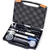 Saldatore YIHUA 947-III da 60W a temperatura regolabile con interruttore ON/OFF e luce di lavoro 220~480℃ Kit/set utensili per saldatura fai da te, con supporto per saldatore in alluminio