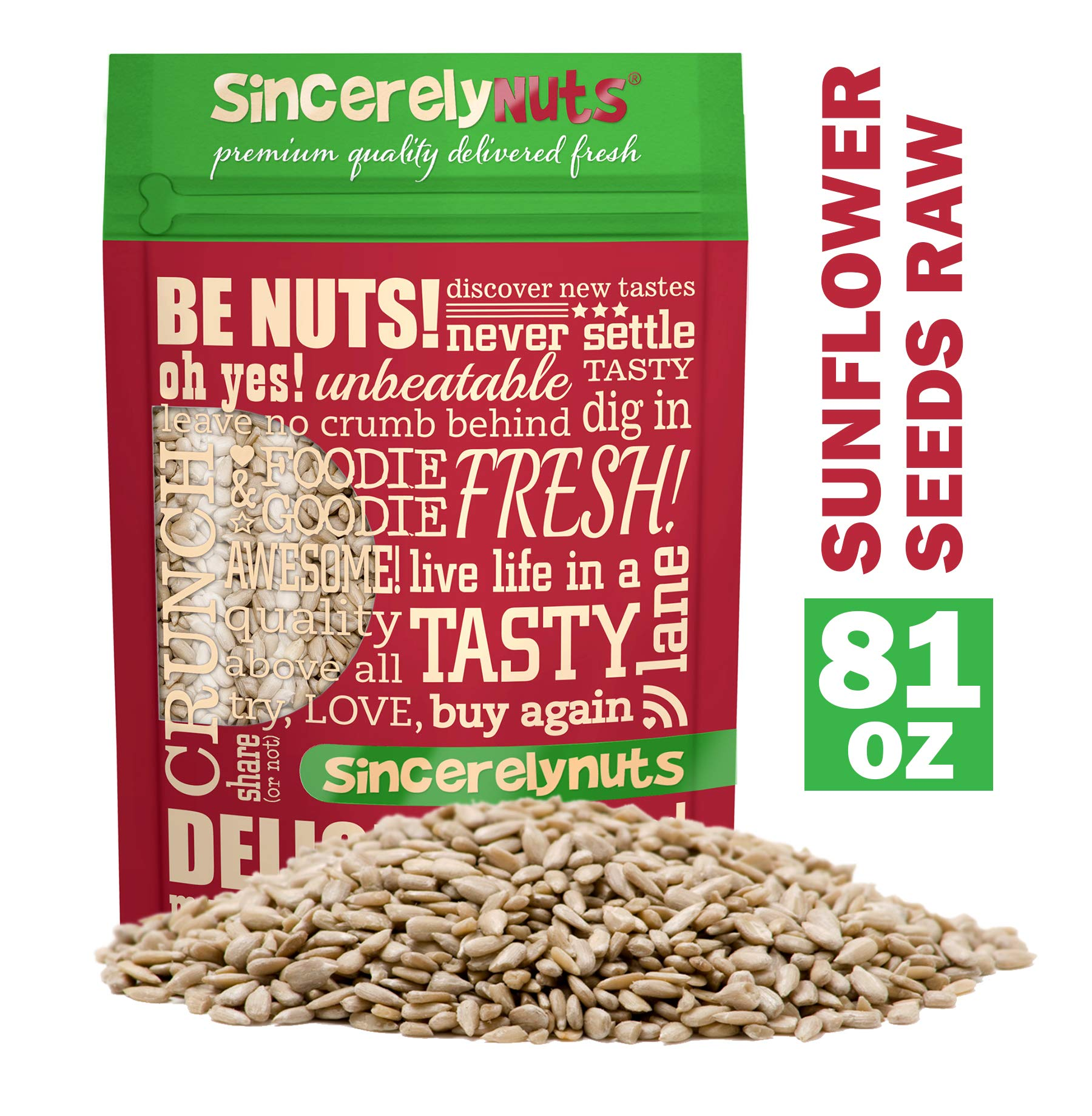 Sincerely Nuts Sunflower Seed Kernels Raw (No Shell) (5lb bag) | Delicious Antioxidant Rich Snack | Source of Protein, Fiber, Essential Vitamins & Minerals | Vegan and Gluten Free by Sincerely Nuts