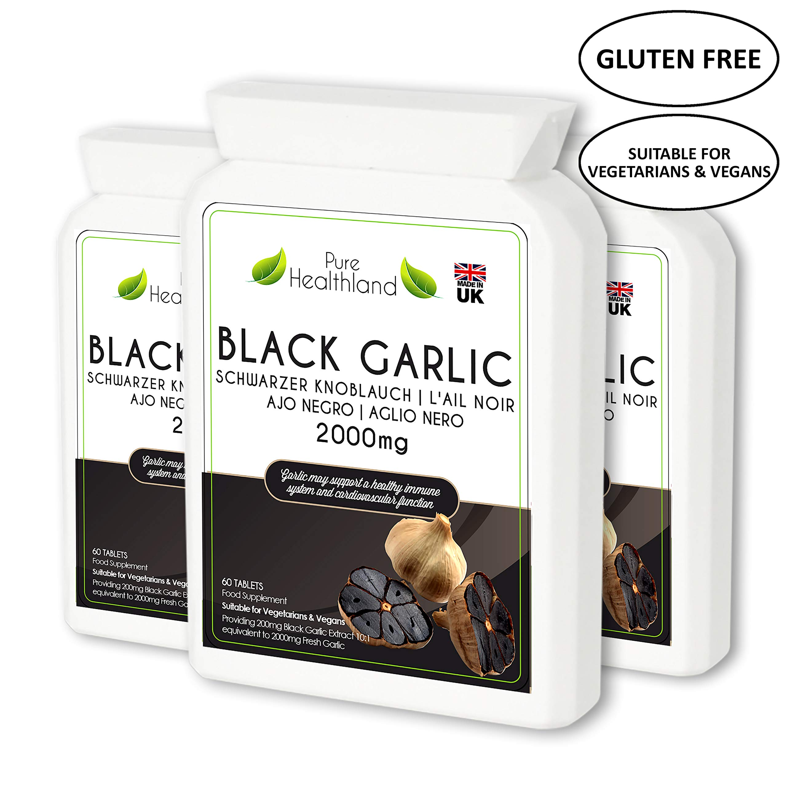 Gluten Free ODORLESS Black Garlic Supplement Tablets for Men & Women. High Potency Equal to 2000mg Fresh Garlic Bulbs. Suitable for Vegan and Vegetarian. 3 Bottles