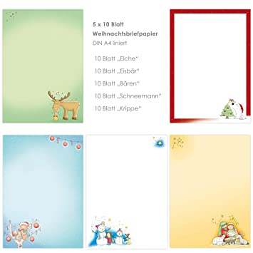 Navidad de papel de carta Mix 5 x 10 hojas DIN A4 para niños ...