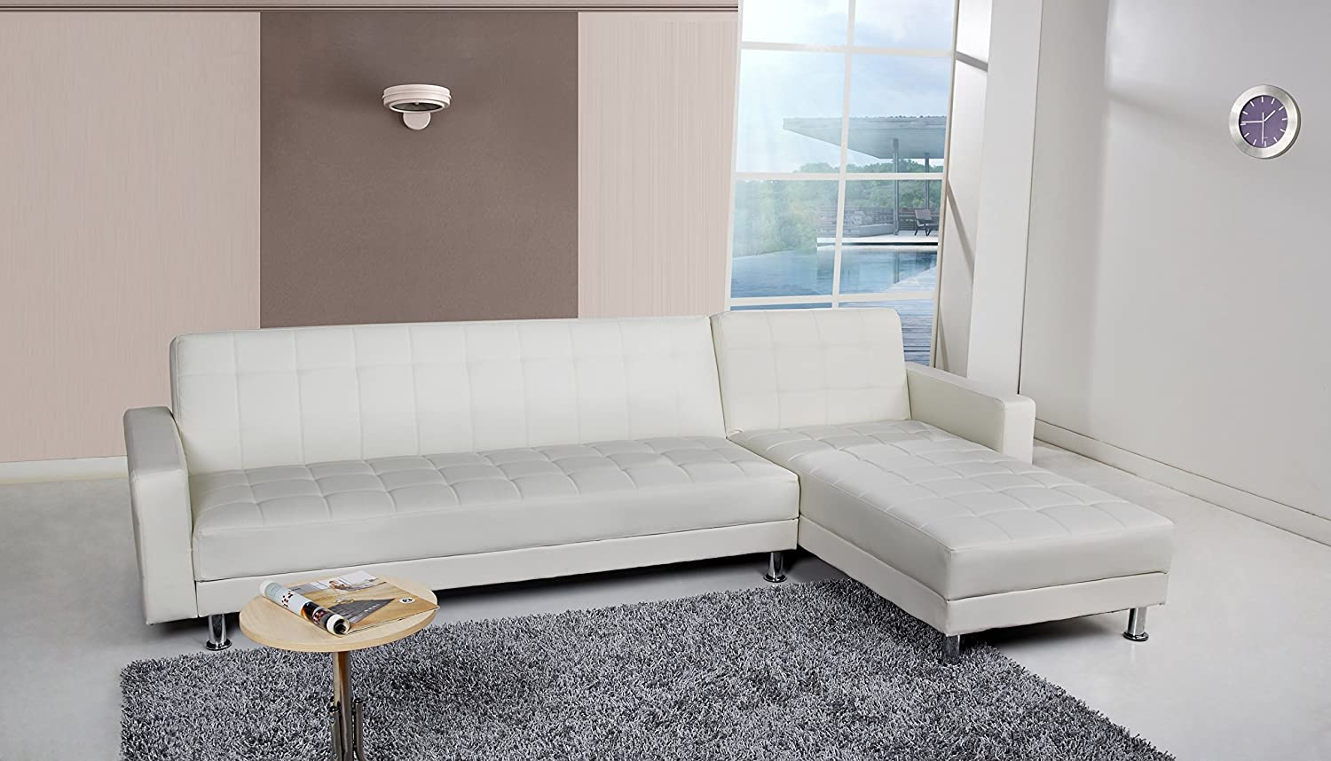 Amazon.com: Gold Sparrow Frankfort Convertible Sectional Sofa Bed, White:  Home U0026 Kitchen