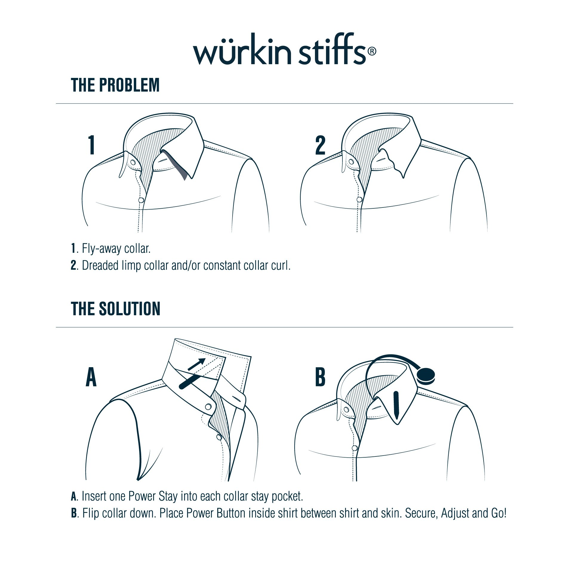 Wurkin Stiffs 2.5-inch Power Collar Stays 3 Pairs
