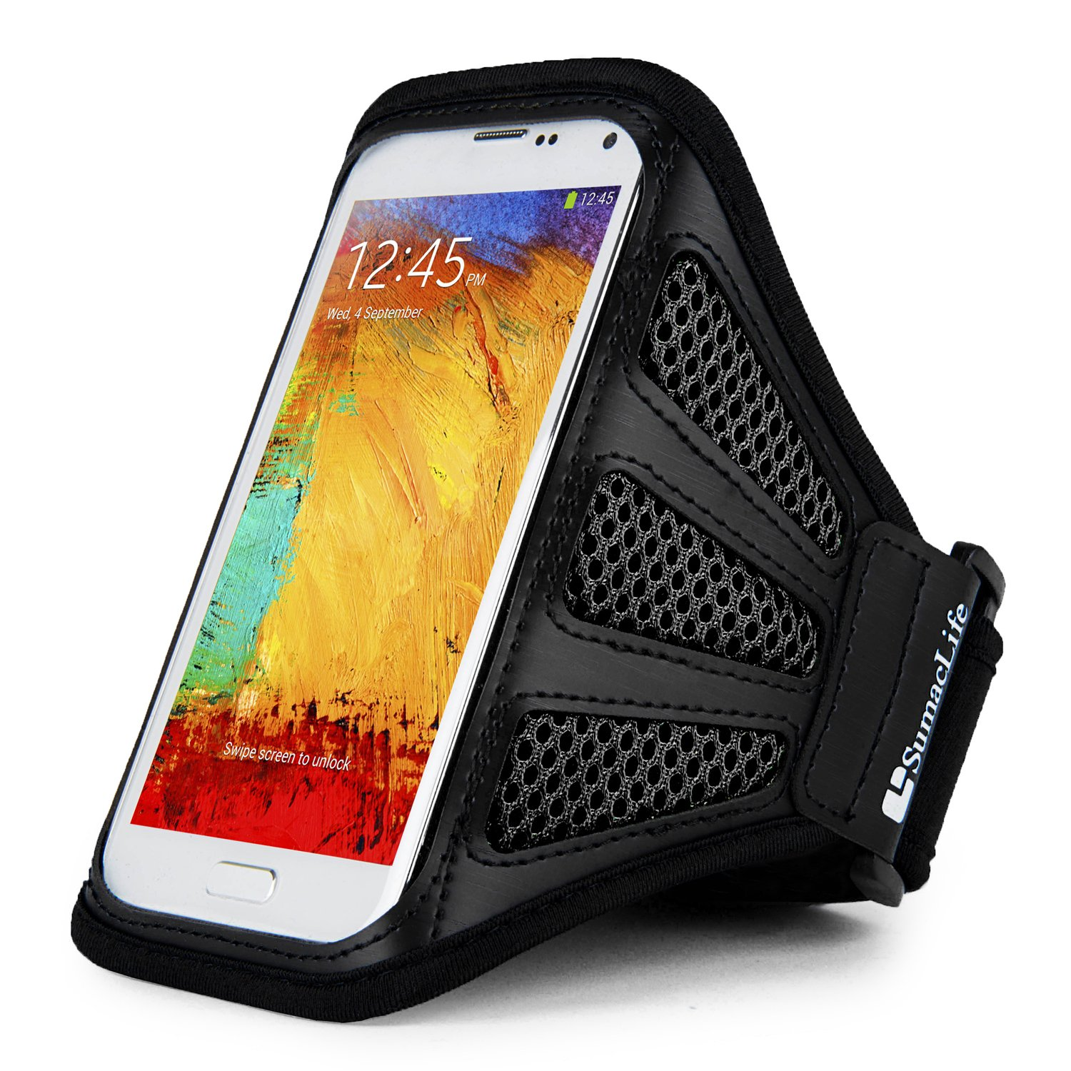 Sweat/Water Resistant Black Mesh Workout Armband Suitable for BLU Vivo/Studio/Life/Grand/Dash/Neo Series Smartphones 5.5'' to 6inch