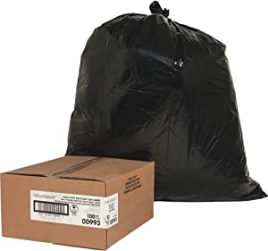 Nature Saver 00993 Trash Can Liners,Rcycld,31-33 Gal,1.65mil,33-Inch x39-Inch,100/BX,BK