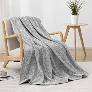 """joybest Bed Throw Knit Blanket Lightweight Breathable Fuzzy Jersey Throw Blanket for Couch Sofa Bed Office Picnic King Size 90""""x108"""""""