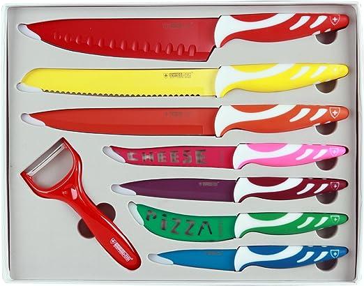 SwissLine Juego de 7 cuchillos Suizos de acero inoxidable con baño ...