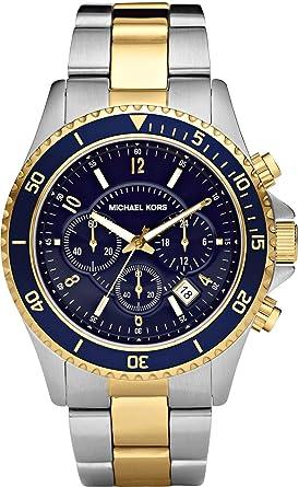 Michael Kors MK8175 Mens Jet Set Two Tone Steel Bracelet Chrono Watch