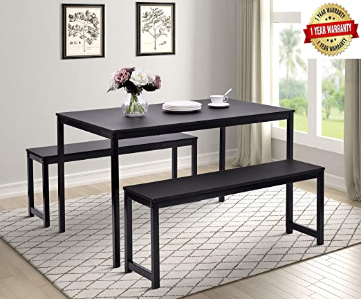 Merax 3-Piece Dining Table Set Kitchen Table with Two Benches,47\
