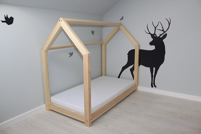 Best For Kids Hausbett 90x200 inkl. Wandsticker Kinderbett Kinderhaus Jugendbett Natur Haus Holz Bett mit oder ohne 10 cm Matratze (90x200 cm)