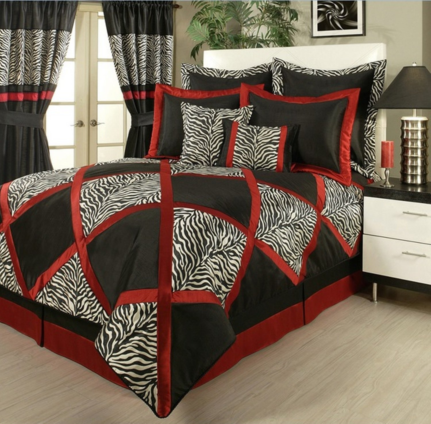 4 Piece Unique Zebra Pattern Comforter Set Queen Size, Featuring Elegant Jacquard Animal Print Design Comfortable Bedding, Stylish Modern Safari Theme Adult Bedroom Decoration, Red, Black, Multicolor