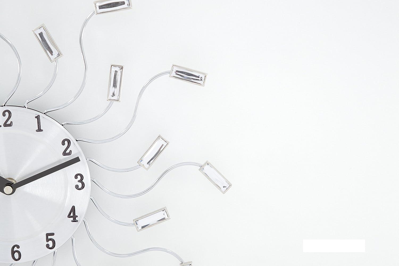 Ideal Time Orologio Da Parete Orologi A Muro Design Moderno In Metallo Con Swarovski Trasparenti In Vetro Effetto Specchio Forma Fiore Alimentazione 1 Batteria Aa Decorazioni Per Interni Orologi