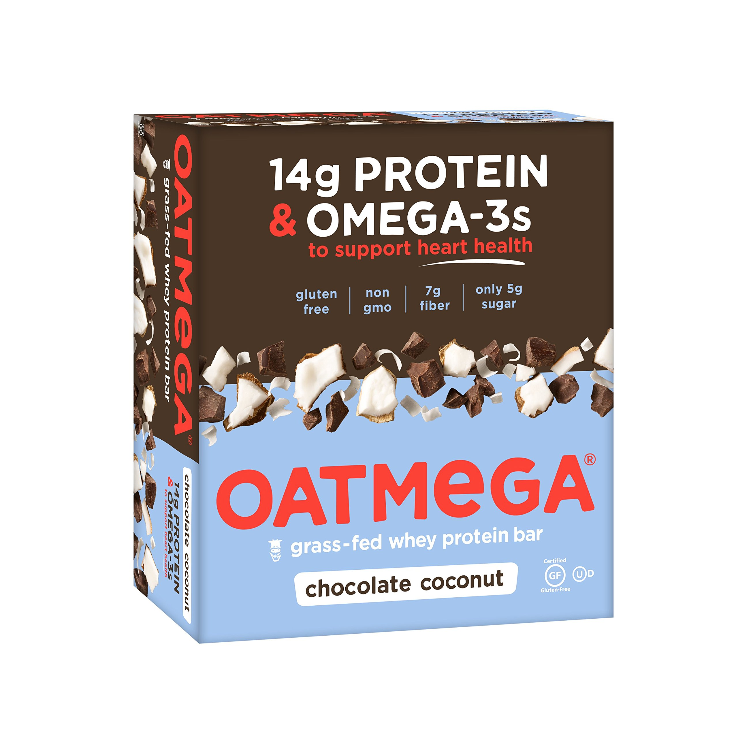OATMEGA Protein Bar, Chocolate Coconut, Energy Bars Made with Omega-3 and Grass-Fed Whey Protein, Healthy Snacks, Gluten Free Protein Bars, Whey Protein Bars, Nutrition Bars, 1.8 Ounce (12 Count) by Oatmega
