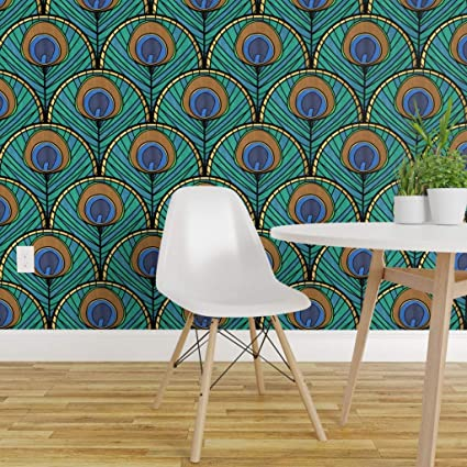 Removable Water Activated Wallpaper Peacock Feathers Teal
