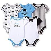 Hudson Baby Unisex Baby Cotton Bodysuits, Perfect Gentleman 5-Pack, 9-12 Months (12M)
