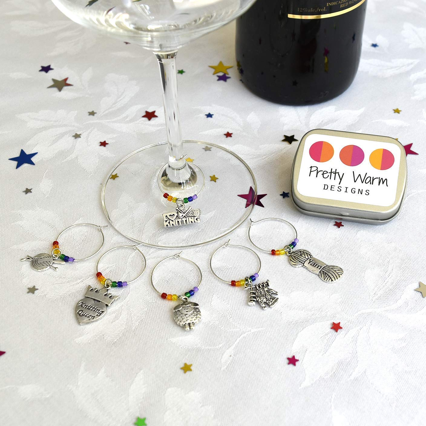 Knitting Themed Wine Glass Charms Set of 6 with Tin