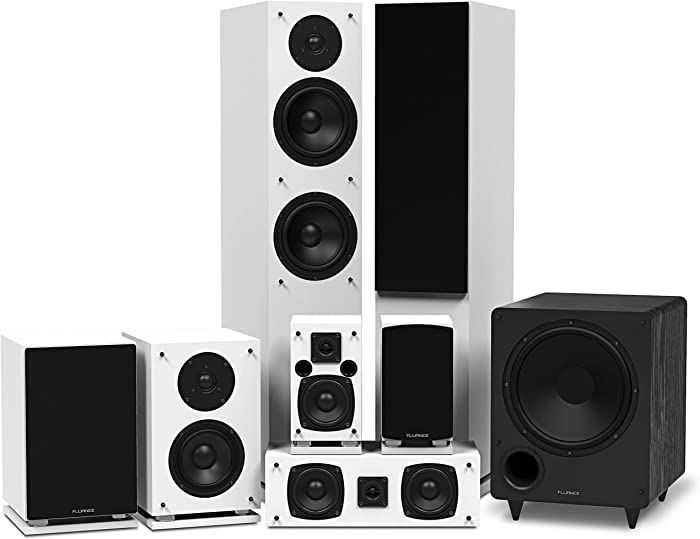 Fluance Elite Series Surround Sound Home Theater 7.1 Channel Speaker System Including Floorstanding, Center Channel, Surround, Rear Surround Speakers, and a DB10 Subwoofer - White (SX71WHR)