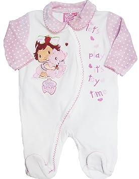 a0954c333ce5e Charlotte aux fraises baby -Dors bien velours bébé fille blanc rose 12mois