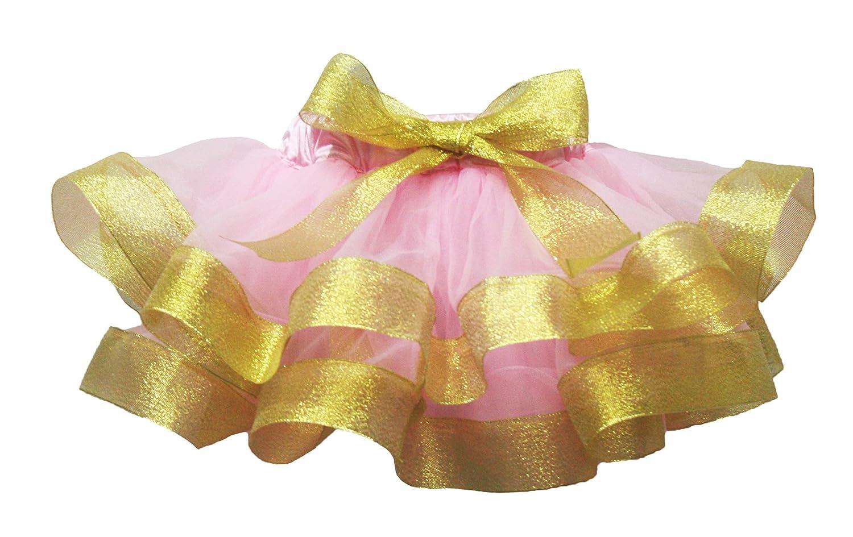 Petitebella Light Pink Gold Ribbon Petal Skirt Girl Clothing Nb-8y