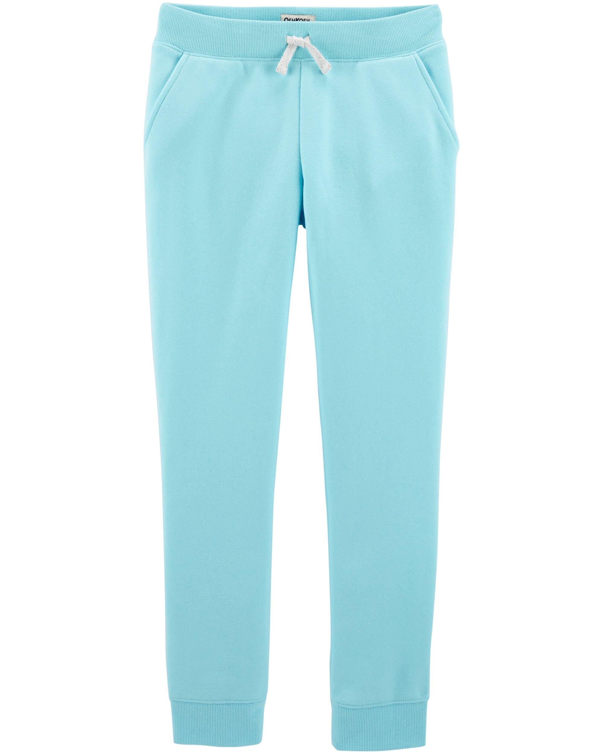 Osh Kosh Girls' Kids Fleece Jogger Pants, Fairy Tale Turquoise, 14
