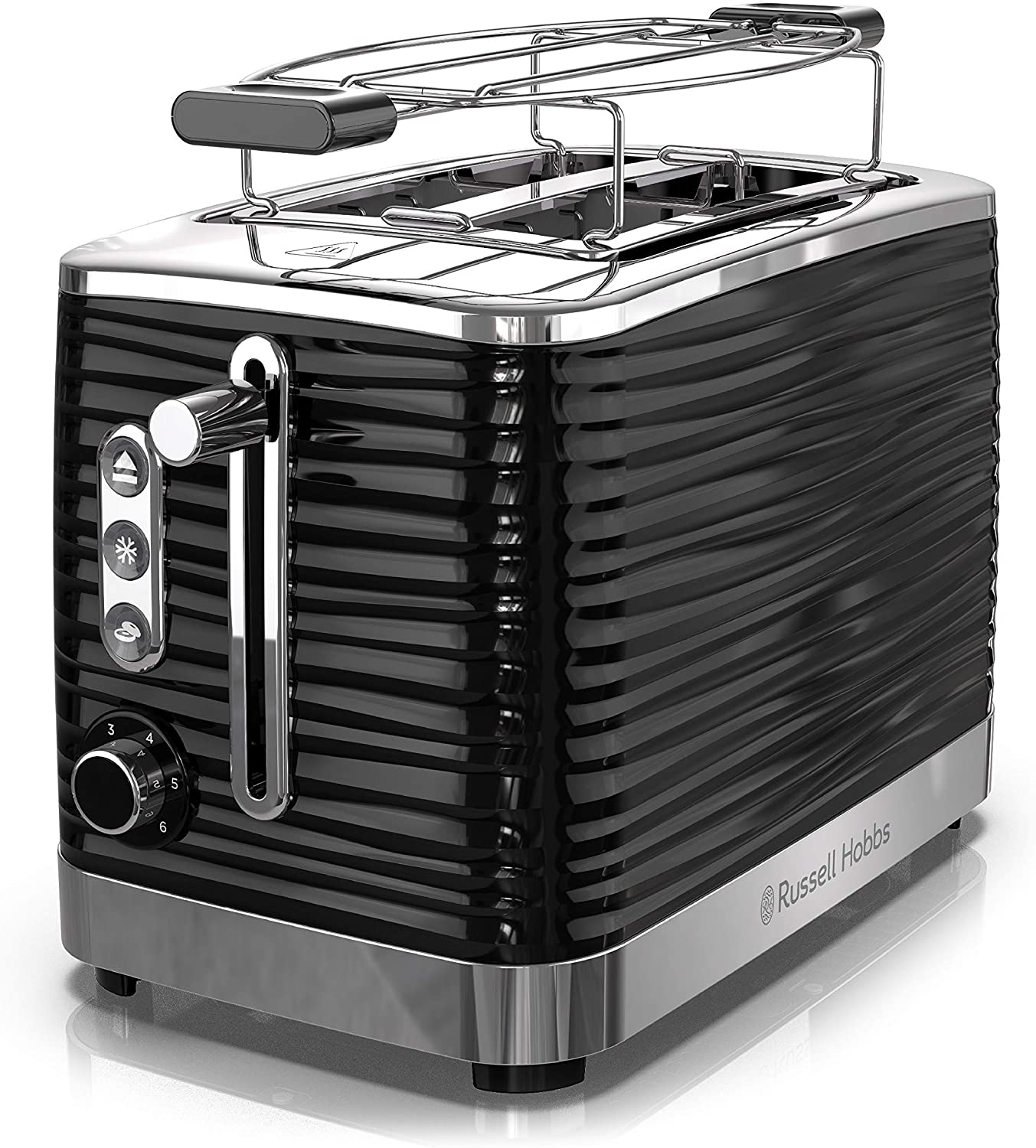 Russell Hobbs TR9350BR Coventry 2-Slice Toaster, Included Warming Rack, Black (Renewed)