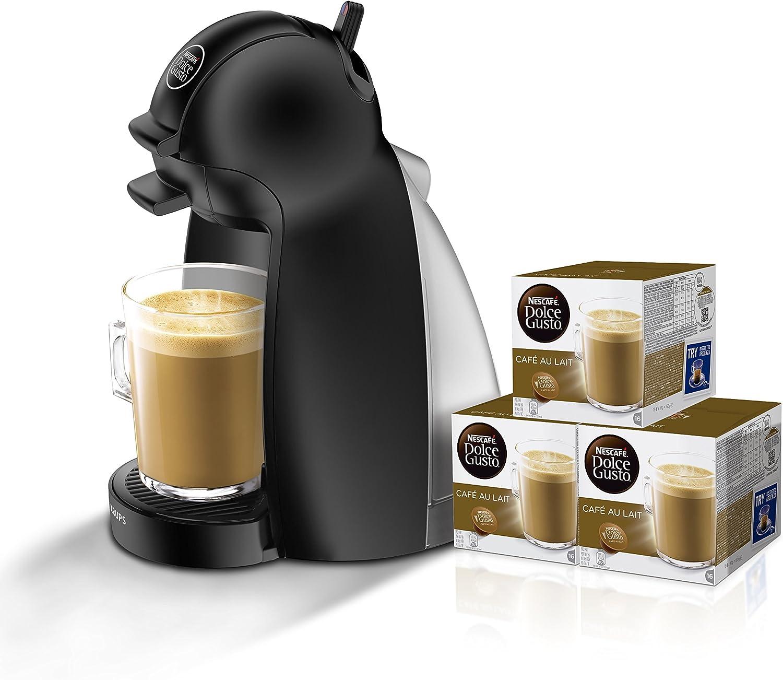 Pack Krups Dolce Gusto Piccolo KP1000 - Cafetera de cápsulas, 15 bares de presión, color negro mate + 3 packs de café Dolce Gusto Con Leche: Amazon.es: Hogar