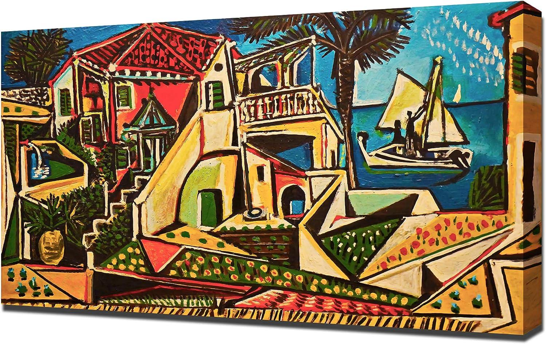 Amazon Com Lilarama Usa Pablo Picasso Mediterranean Landscape Framed Canvas Art Print Reproduction Posters Prints