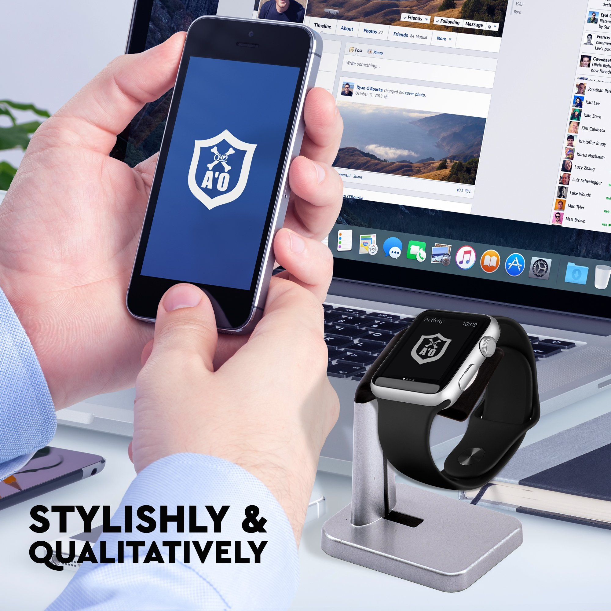 A'O Watch Charger Station Compatible with Apple Watch Charging Dock,iWatch holder stand for smart watches series 38/42mm. Silver black color station, cable not included. Antislip Platform. by A'O (Image #6)