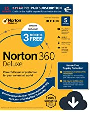 EXCLUSIVE Norton 360 Deluxe – Antivirus software for 5 Devices with Auto Renewal - 15 Month Subscription - 3 Months FREE - Includes VPN, PC Cloud Backup & Dark Web Monitoring powered by LifeLock - 2020 Ready [Download]
