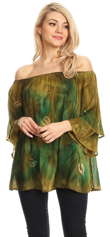Sakkas Alania akvarell batikfärg dubbel klocka t-shirt blus Avocado / Grün