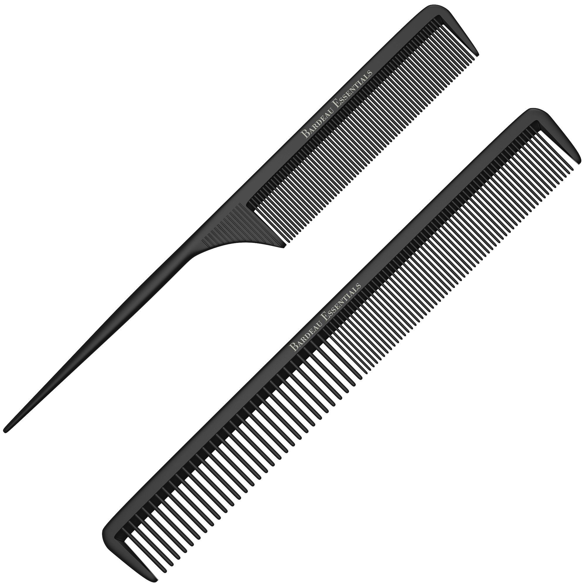 """Styling Comb and Tail Comb Combo Pack   Professional 8.75"""" Black Carbon Fiber Anti Static Chemical And Heat Resistant Combs For All Hair Types   For Men and Women   By Bardeau Essentials"""
