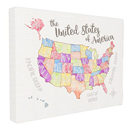 Stupell Home Décor United States US Map Water Color Stretched Canvas Wall  Art, 16 x 1.5 x 20, Proudly Made in USA