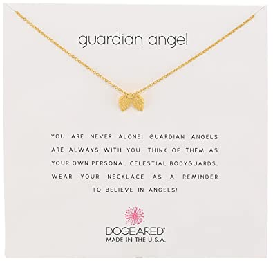 """2bd4f1a941eee9 Dogeared Reminders """"Guardian Angel"""" Gold Dipped Sterling Silver  Angel Wings Charm Necklace,"""
