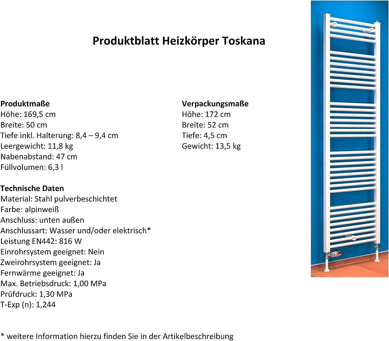alpin-wei/ß 331 Watt Leistung Anschluss unten Handtuchhalter-Funktion Der Renovierungsprofi Bad-Heizk/örper Florenz gebogen 70x50 cm