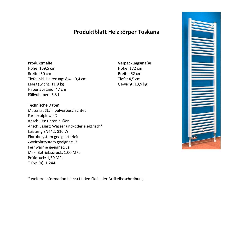 113x60 cm Der Renovierungsprofi 627 Watt Leistung Handtuchhalter-Funktion Anschluss unten Bad-Heizk/örper Toskana alpin-wei/ß